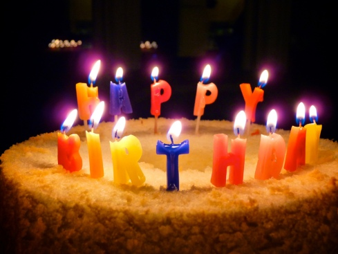 Happy Birthday Candles on Angel Foods Cake by Rob J Brooks on Flickr